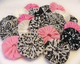 Wedding Flowers Birthday Pink Black White Fabric Flowers Fabric YoYo 50 Bobby Pin Embellishment Trim