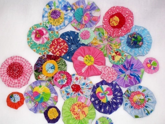 YoYo Kawaii Bow Handmade Trim Quilt Block Flower RETRO POP BRIGHT Fabric Yo Cuff Pin Applique Magnet Brooch Hair Clip Barrette Scrapbook 1/2 OFF TODAY