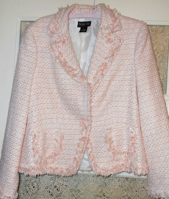 TODAY'S SPECIAL Jacket Coat Pink Shabby Chic White Tweed Designer Size 12 Spring Summer
