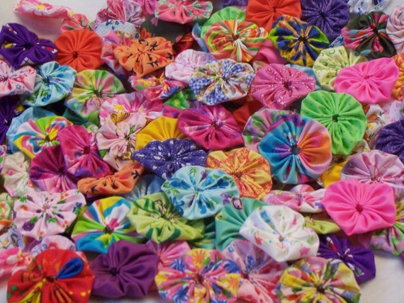 Hair Clip Appliques Rainbow Bright Button Bow YoYo Scrapbook Shower Flower Fabric Flowers Birthday Party Wedding Embellishment