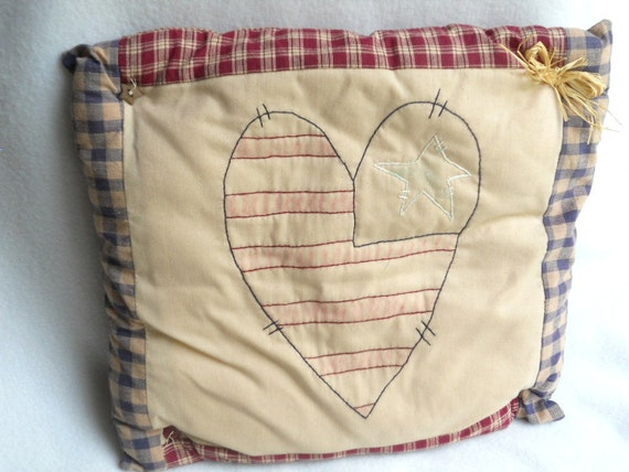 """Primitive Pillow Homespun 15"""" Rustic Heart Flag USA 4th of July Country Cottage Porch Bedroom"""