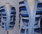 Vintage Blue 1970s 70s Blue Stripe Wrap Bell Sleeve Knit Sweater sz xs-med