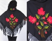 Vintage Black Fringed Hand Flowered Rose Embroidered Mexican Ethnic Scarf
