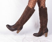 vintage FRYE knee high suede brown leather boots size 8