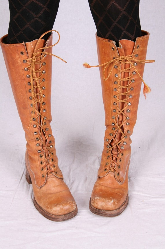 Vintage Frye Boots Lace Up Black Label Knee High By