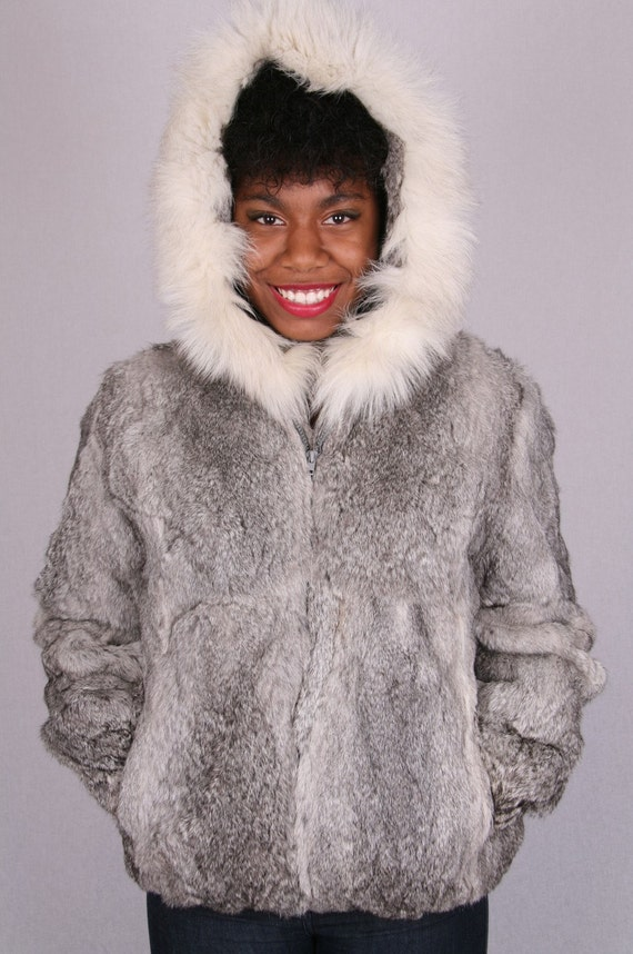 SALE Genuine Sergio Valente Gray Fox  Fur Hood Hooded Unisex Fluffy Plush  Winter Vest Coat Jacket sz sm med lg