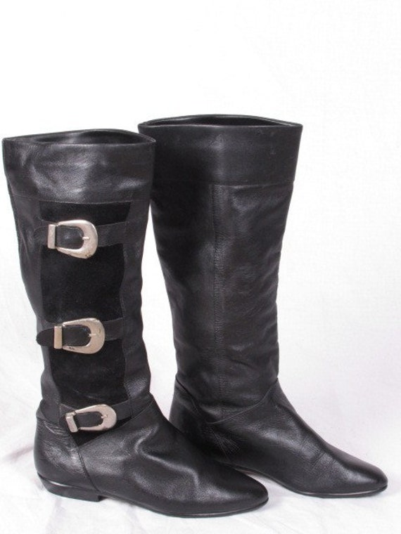 vintage 1960s 60s MOD GoGo flat heel black leather suede 3 buckle made in portugal tall sz 6 1/2