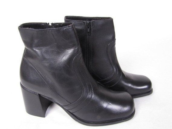 vintage 90s black leather BAKERS side zippered chunky stacked heel ankle boots shoes sz 9.5