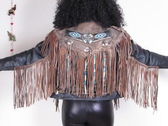 Vintage 70s SouthWestern Navajo Concho Beads Long Fringe Biker Suede Leather Western Native Jacket
