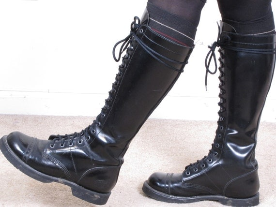 vintage 80s NANA INDUSTRIAL tall black all leather upper lace