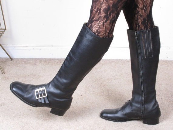 Reserved vintage 60s MoD GoGo genuine all leather MADE IN Italy side buckle zip up boots us sz 8