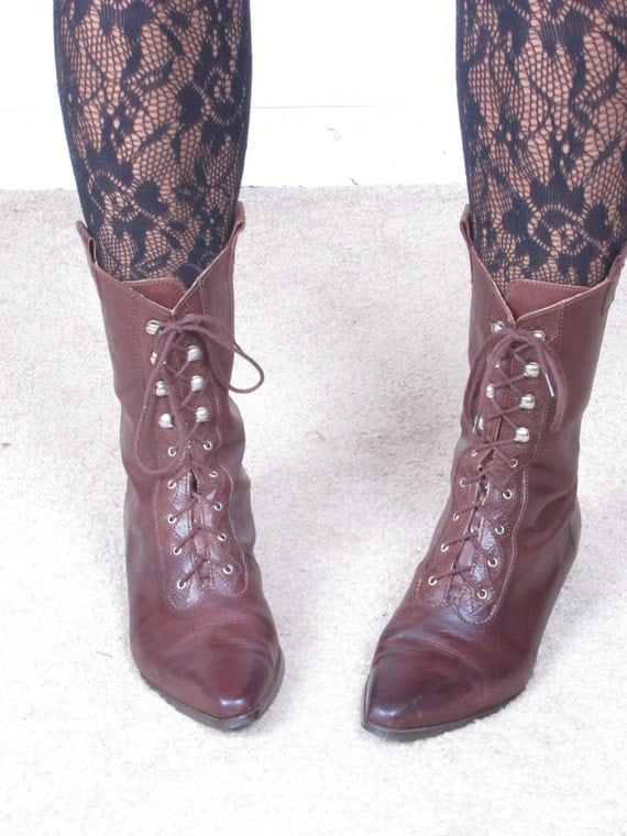 90s GLACEE western ankle side lace up combat military granny ankle boots us wms sz 7