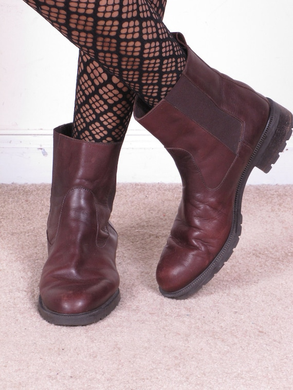 vintage 90s EDDIE BAUER made in italy western ankle boots brown leather boots sz womens 9