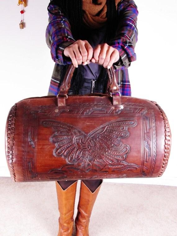 Vintage Mexican Tooled Mayan Calender American Eagle Leather Huge Tan Traveler Weekender Bag Tote