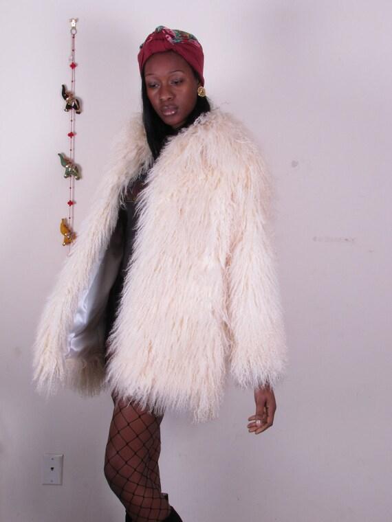 vintage Off White Feathered Shaggy Fluffy OVERSIZED tibet mongolian tibetan lamb and leather coat vest gilet