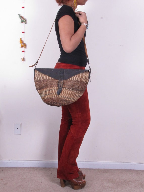 Vintage Ethnic Hobo African Wicker Basket Distressed Leather BoHo Cross Body Bag