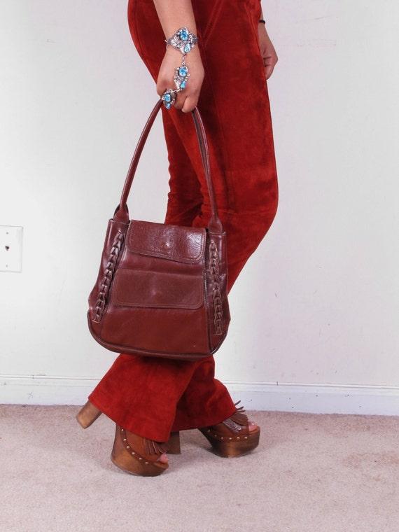 1970s 70s Hobo Hippy Side Braid Leather Shoulder Bag Purse Handbag