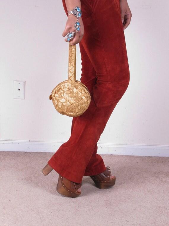 Vintage 50s Gold Wristlet Handle Clutch Purse Bag Purse Handbag