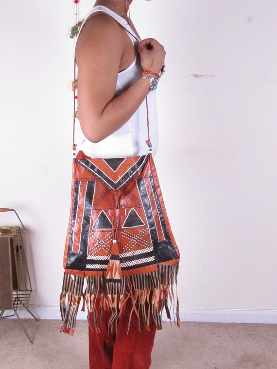 Vintage 70s Earth Tone Nomad Tribal African Leather Tuareg Fringe Shoulder Bag