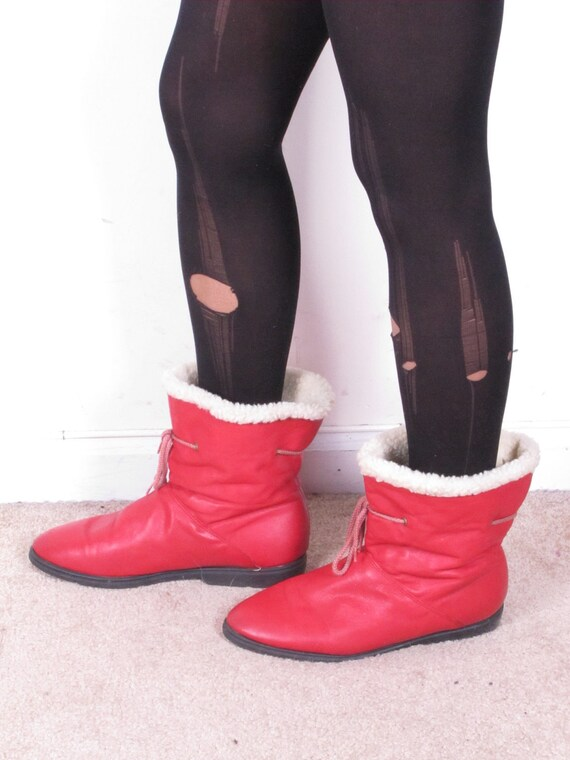 vintage red BASS wool insulated lining drawstring leather combat granny grunge boots sz  10 M