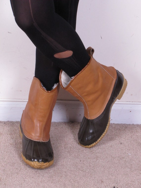 womens size 7 vintage Hunting Shoe Leather Shaft wool insulated snow/winter/rain Duck Boots