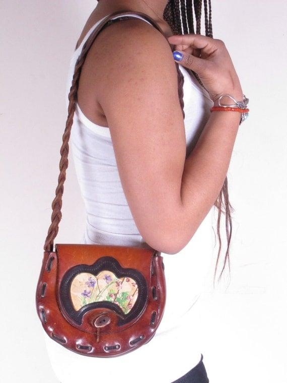Vintage 70s Rare Hippie Mexican Tooled Floral Leather Tan Bag Purse Handbag Braided Shoulder Strap