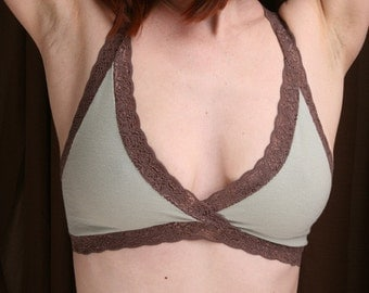 Organic Cotton Bra - Sage 'Summersweet' Bralette - Women's Lingerie Made To Order