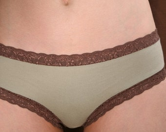 Sage Organic Cotton Panties - Womens Lingerie - 'Morning Glory' Style Underwear