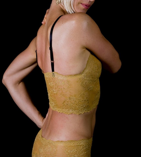 SALE - Last One Up To Size Small Only - Gold 'Sassafras' Bra - Womens Lingerie Made To Order
