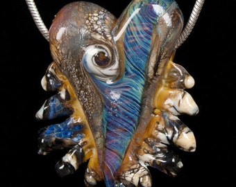 Art Glass Handmade Lampwork Bead Heart - Flaming Heart Pendant in Purples, Blues, Greens & Beiges by Patsy Evins