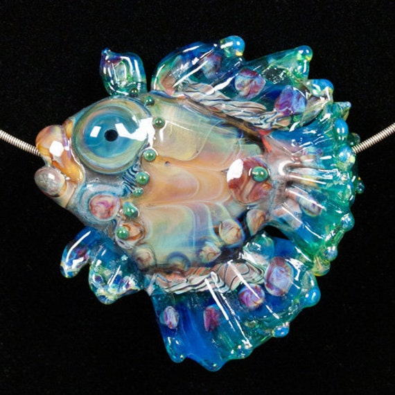 Glass Lampwork Bead Fish - Blue Green Fin Trigger Fish by Patsy Evins