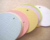 30 Pastel Tags Gift Tag Pricing Tag  Circle Textured cardstock soft pink lilac yellows blues Perfect for your products hanging tags