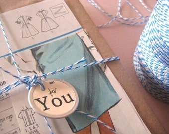 Blue and White Bakers twine 10 metres (9 yds) pretty packing Gift wrap with love