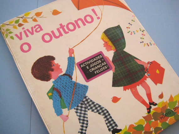 Vintage Childrens illustrated book Viva O Outono 1976 Spanish Portugese Autumn delightful color colour