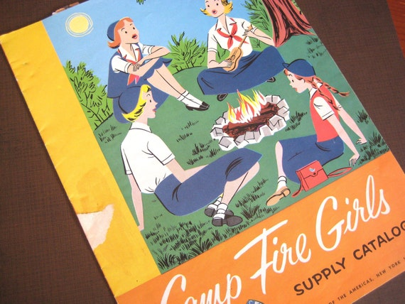 Vintage Camp Fire Girls Supply Catalog 1950s Booklet Paper ephemera Scouts Blue birds