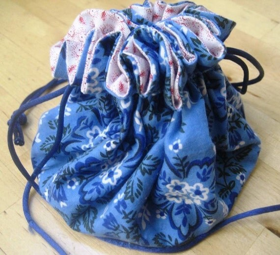 blue bandana jewelry bag