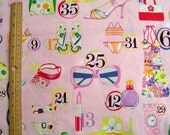 cotton fabric by Alexander Henry - Shopping Spree print - OOP - sunglasses, lipstick, bikini, purse, shoes, hats and more - yardage