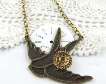 CLOSING DOWN SALE Steampunk Neo Victorian vintage steampunk Swallow Pendant necklace