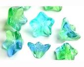 Czech Flower Beads Blue Green Aqua Two Tone 9mm