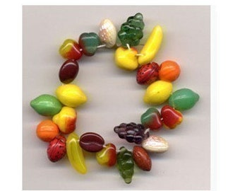 Fruit Salad Mix Glass Beads 25 PCS Carmen Miranda Charm Mix