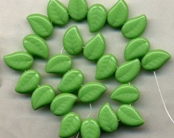 Spring Green Leaves Beads Opaque Czech Glass with inlay details