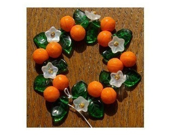 Orange Fruit Blossom Bead Mix Flower and Leaf Glass