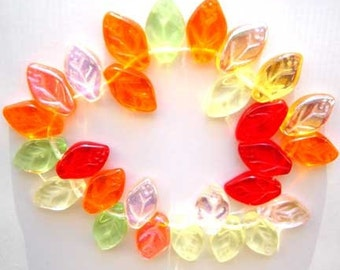Tropical Leaf Beads Czech Glass Green Orange Yellow Pink Red