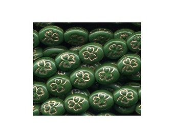 Shamrock Beads Green w Gold Inlay St Patricks Day Irish Rosary Making Confirmation