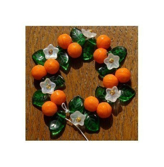 Orange Fruit Blossom Bead Mix Flower and Leaf Glass