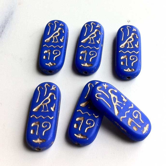 Lapis Blue Rectangle Tile Glass Beads Egyptian Hieroglyphics Cartouche