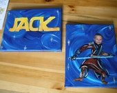 Star wars stretched canvas set personalized with your picture and name  2 each 8x10
