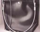 Black Sleek Vinyl Purse Industrial Recycled