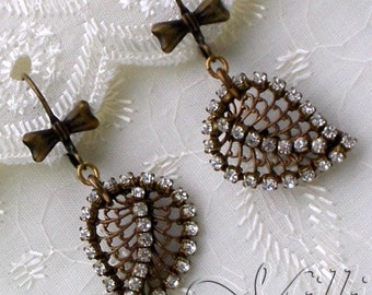 SALE - Pretty Glittering Leaves with Antique Brass and Rhinestones -  was 22.00