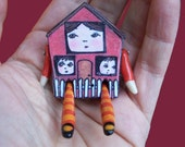 You Are My Heart Mama House and her children Teeny Tiny Miniature Doll Pin